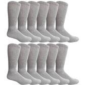 6 Pairs King Size Mens Diabetic Crew Socks, Loose Fit Top Soft Cotton (12 Pack Gray, King (13-16)) - Diabetic Socks