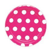 144 Units of Seven Inch Eight Count Paper Plate Baby Pink Polka Dot - Party Paper Goods
