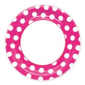 144 Units of Nine Inch Eight Count Paper Plate Baby Pink Polka Dot - Party Paper Goods
