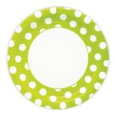 144 Units of Nine Inch Eight Count Plate Lime Green Polka Dot - Party Paper Goods