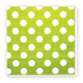 144 Units of Luncheon Napkin Lime Green Polka Dot - Party Paper Goods