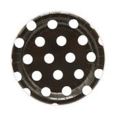 144 Units of Seven Inch Eight Count Paper Plate Black Polka Dot - Party Paper Goods