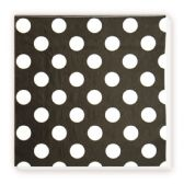 144 Units of Luncheon Napkin Black Polka Dot - Party Paper Goods