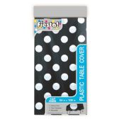144 Units of Table Cover Black Polka Dot - Party Paper Goods