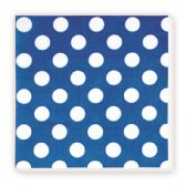 144 Units of Luncheon Napkin Dark Blue Polka Dot - Party Paper Goods