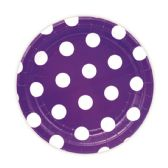 144 Units of Seven Inch Eight Count Plate Purple Polka Dot - Party Paper Goods