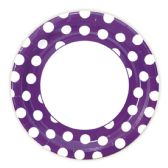 144 Units of Nine Inch Eight Count Plate Purple Polka Dot - Party Paper Goods