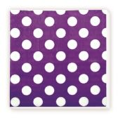 144 Units of Luncheon Napkin Purple Polka Dot - Party Paper Goods