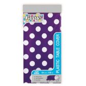144 Units of Table Cover Purple Polka Dot - Party Paper Goods