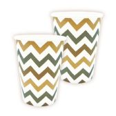 144 Units of Nine Ounce Ten Count Cup Brown Wave Design - Party Paper Goods
