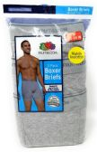 48 Units of Gray Fruit of the Loom Men's Slightly Irregular Boxer Briefs 3-Pack - Mens Underwear