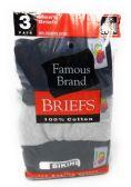 48 Units of 100% Cotton Mens Bikini Briefs 3-Pack Assorted Colors - Mens Underwear