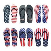96 Units of Women's USA Patriotic Blue White Red Theme Flip Flop - Women's Flip Flops