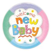 96 Units of Nine Inch Eight Count Paper Plate New Baby Design - Party Favors