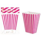 96 Units of Six Count Popcorn Box Striped Hot Pink - Party Paper Goods