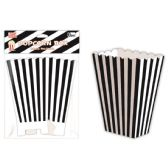 96 Units of Six Count Popcorn Box Striped Black - Party Paper Goods