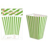 96 Units of Six Count Popcorn Box Striped Lime - Party Paper Goods