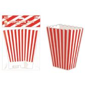 96 Units of Six Count Popcorn Box Striped Red - Party Paper Goods