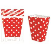 96 Units of Six Count Popcorn Box Red Polka Dot - Party Paper Goods