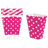 96 Units of Six Count Popcorn Box Hot Pink Polka Dot - Party Paper Goods