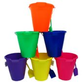 "48 Units of 9"" BEACH TOY BUCKET WITH SHOVEL ASSORTED COLORS - Summer Toys"