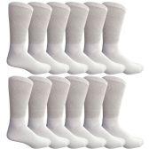 King Size Multi Pack Diabetic Cotton Crew Socks Soft Non-Binding Comfort Socks (12 Pairs, White, Size 13-16) - Diabetic Socks