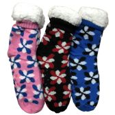 Prestige Edge 3 Pairs of Sherpa Fleece Lined Slipper Socks, Gripper Bottoms, Best Warm Winter Gift (Assorted With Color Print) - Womens Sherpa Socks