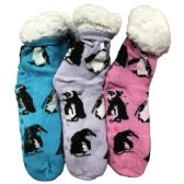 Prestige Edge 3 Pairs of Sherpa Fleece Lined Slipper Socks, Gripper Bottoms, Best Warm Winter Gift (Lt.Pink/Lt.Purple With Aqua) - Womens Sherpa Socks