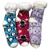 Prestige Edge 3 Pairs of Sherpa Fleece Lined Slipper Socks, Gripper Bottoms, Best Warm Winter Gift (Fuchsia/Purple W Turquoise) - Womens Sherpa Socks