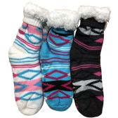 Prestige Edge 3 Pairs of Sherpa Fleece Lined Slipper Socks, Gripper Bottoms, Best Warm Winter Gift (Lt.Blue/Dk.Grey With White) - Womens Sherpa Socks