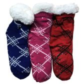 Prestige Edge 3 Pairs of Sherpa Fleece Lined Slipper Socks, Gripper Bottoms, Best Warm Winter Gift (Assorted M) - Womens Sherpa Socks