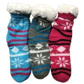Prestige Edge 3 Pairs of Sherpa Fleece Lined Slipper Socks, Gripper Bottoms, Best Warm Winter Gift (Fuchsia/Lt.Grey W Aqua) - Womens Sherpa Socks