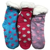 Prestige Edge 3 Pairs of Sherpa Fleece Lined Slipper Socks, Gripper Bottoms, Best Warm Winter Gift (Fuchsia/Lt,Purple withe Aqua) - Womens Sherpa Socks