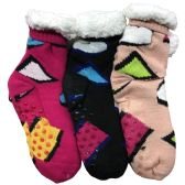 Prestige Edge 3 Pairs of Sherpa Fleece Lined Slipper Socks, Gripper Bottoms, Best Warm Winter Gift (Assorted With White) - Womens Sherpa Socks