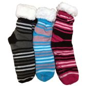 Prestige Edge 3 Pairs of Sherpa Fleece Lined Slipper Socks, Gripper Bottoms, Best Warm Winter Gift (Assorted P) - Womens Sherpa Socks