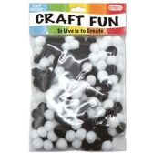 144 Units of Two Hundred Count Pom Pom Black And White - Craft Stems