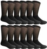 King Size Multi Pack Diabetic Cotton Crew Socks Soft Non-Binding Comfort Socks (12 Pairs, Black, Size 13-16) - Diabetic Socks