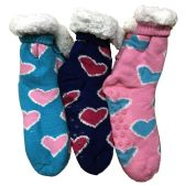 Prestige Edge 3 Pairs of Sherpa Fleece Lined Slipper Socks, Gripper Bottoms, Best Warm Winter Gift (Assorted N) - Womens Sherpa Socks