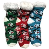 Prestige Edge 3 Pairs of Sherpa Fleece Lined Slipper Socks, Gripper Bottoms, Best Warm Winter Gift (Green/Red W Turquoise) - Womens Sherpa Socks