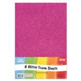 96 Units of Eva Glitter Sheet Fuschia Foam - Foam & Felt