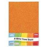 96 Units of Eva Glitter Sheet Orange Foam - Foam & Felt