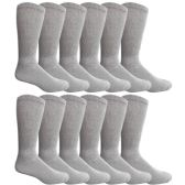 King Size Multi Pack Diabetic Cotton Crew Socks Soft Non-Binding Comfort Socks (12 Pairs, Gray, Size 13-16) - Men's Diabetic Socks