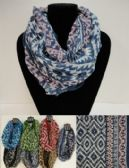 12 Units of Extra-Wide Light Weight Infinity Scarf [Aztec] - Womens Fashion Scarves