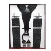 12 Units of Pattern Suspenders Black & White Polka Dot - Suspenders