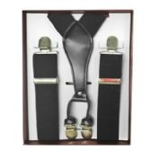 12 Units of Solid Black Suspenders - Suspenders