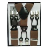 12 Units of Solid Suspenders Brown - Suspenders