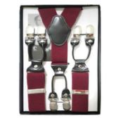 12 Units of Solid Suspenders Burgundy - Suspenders