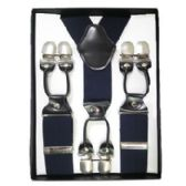 12 Units of Solid Suspenders Navy - Suspenders