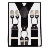 12 Units of Solid Suspenders Black - Suspenders