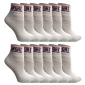 12 Pairs of SOCKS'NBULK USA Cotton Sport Athletic Ankle Socks, Sport Sweat Socks USA Themed (White, 9-11) - Womens Ankle Sock